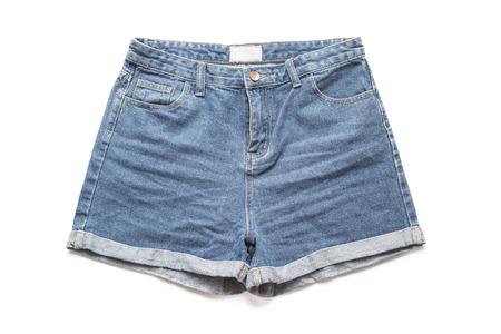 denim shorts: Distressed Denim Shorts Ripped on white background