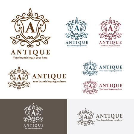 prince: Antique Crest Letter A. Heraldry sign crest brand identity. Monogram pattern. Royal ancient symbol. Classic badge. Illustration