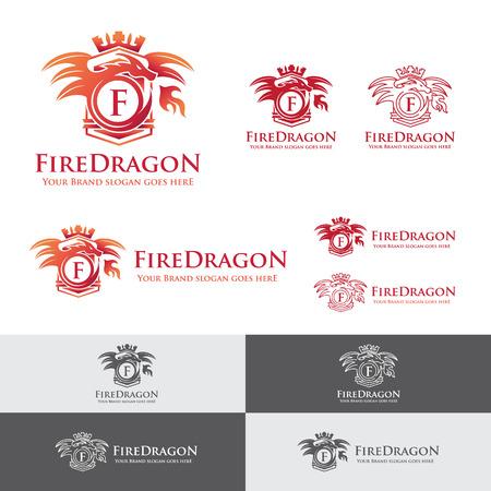 dragon: Fire Dragon Letter Crest. Heraldry dragon blowing fire emblem. Royal dragon badge Illustration