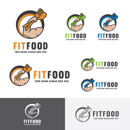 arm muscles: Fitness Food. Nutrition for body builder. Muscle builder food. Fork and Spoon. Health and wellness food identity