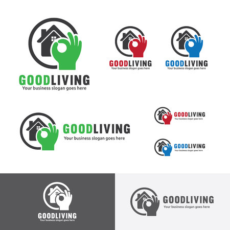 accommodation: Good Living. Quality house. OK hand sign. Best accommodation branding. Illustration