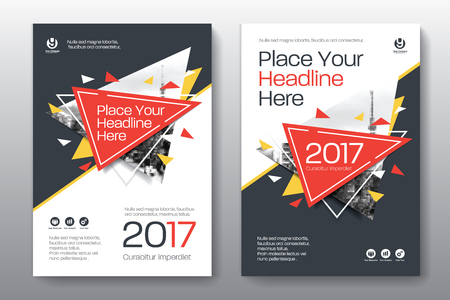 adapt: Red Color Scheme with City Background Business Book Cover Design Template in A4. Easy to adapt to Brochure, Annual Report, Magazine, Poster, Corporate Presentation, Portfolio, Flyer, Banner, Website Illustration