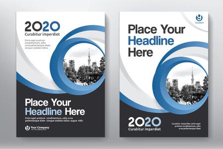 Modèle de couleur bleue avec fond de ville Modèle de conception de couverture de livre d'affaires en A4. Facile à adapter à la brochure, rapport annuel, magazine, affiche, présentation corporative, portefeuille, dépliant, bannière, site Web. Vecteurs