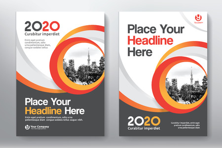 Red Color Scheme with City Background Business Book Cover Design Template in A4. Easy to adapt to Brochure, Annual Report, Magazine, Poster, Corporate Presentation, Portfolio, Flyer, Banner, Website.
