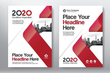 都市背景ビジネス書籍カバー デザイン テンプレート A4 のと赤の色彩の配合。ウェブサイト バナー、パンフレット、アニュアル レポート、雑誌、ポ