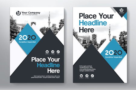 adapt: Blue Color Scheme with City Background Business Book Cover Design Template in A4. Easy to adapt to Brochure, Annual Report, Magazine, Poster, Corporate Presentation, Portfolio, Flyer, Banner, Website.