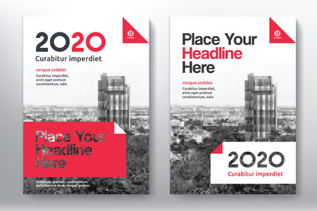 blank magazine: Red Color Scheme with City Background Business Book Cover Design Template in A4. Easy to adapt to Brochure, Annual Report, Magazine, Poster, Corporate Presentation, Portfolio, Flyer, Banner, Website.