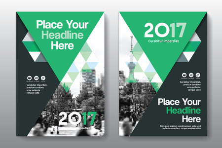Green Color Scheme with City Background Business Book Cover Design Template in A4. Easy to adapt to Brochure, Annual Report, Magazine, Poster, Corporate Presentation, Portfolio, Flyer, Banner, Website. Ilustrace