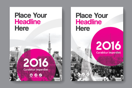 blank magazine: Pink Color Scheme with City Background Business Book Cover Design Template in A4. Easy to adapt to Brochure, Annual Report, Magazine, Poster, Corporate Presentation, Portfolio, Flyer, Banner, Website.