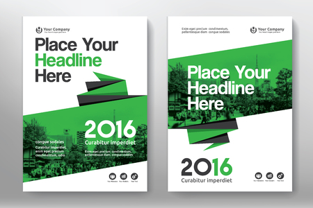 cover: Green Color Scheme with City Background Business Book Cover Design Template in A4. Easy to adapt to Brochure, Annual Report, Magazine, Poster, Corporate Presentation, Portfolio, Flyer, Banner, Website. Illustration