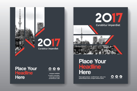 adapt: Red Color Scheme with City Background Business Book Cover Design Template in A4. Easy to adapt to Brochure, Annual Report, Magazine, Poster, Corporate Presentation, Portfolio, Flyer, Banner, Website.