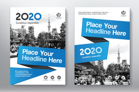 blank magazine: Blue Color Scheme with City Background Business Book Cover Design Template in A4. Easy to adapt to Brochure, Annual Report, Magazine, Poster, Corporate Presentation, Portfolio, Flyer, Banner, Website.