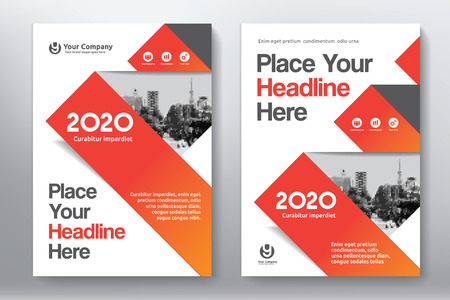 Orange Color Scheme with City Background Business Book Cover Design Template in A4. Easy to adapt to Brochure, Annual Report, Magazine, Poster, Corporate Presentation, Portfolio, Flyer, Banner, Website. Ilustrace