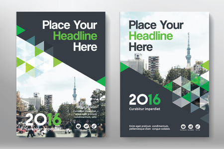 Green Color Scheme with City Background Business Book Cover Design Template in A4. Easy to adapt to Brochure, Annual Report, Magazine, Poster, Corporate Presentation, Portfolio, Flyer, Banner, Website. Illustration