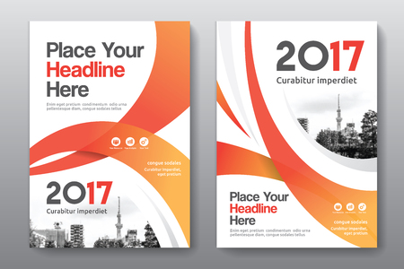Orange Color Scheme with City Background Business Book Cover Design Template in A4. Easy to adapt to Brochure, Annual Report, Magazine, Poster, Corporate Presentation, Portfolio, Flyer, Banner, Website. 矢量图像