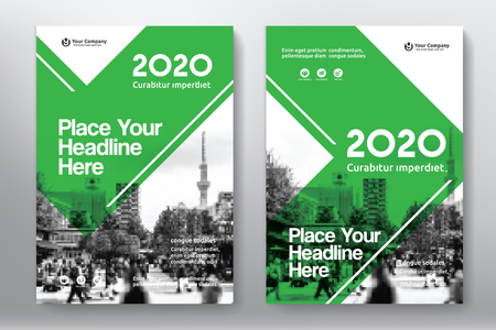adapt: Green Color Scheme with City Background Business Book Cover Design Template in A4. Easy to adapt to Brochure, Annual Report, Magazine, Poster, Corporate Presentation, Portfolio, Flyer, Banner, Website. Illustration