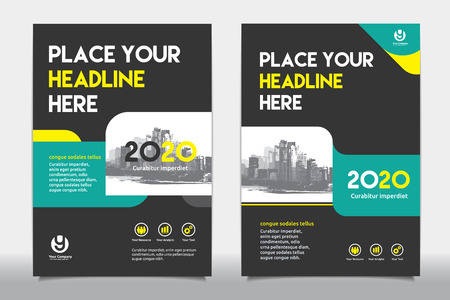 advert: Green Color Scheme with City Background Business Book Cover Design Template in A4. Easy to adapt to Brochure, Annual Report, Magazine, Poster, Corporate Presentation, Portfolio, Flyer, Banner, Website. Illustration