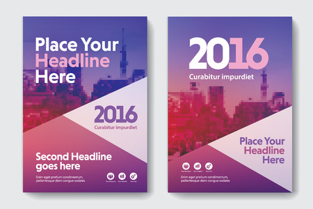 blank magazine: Purple Color Scheme with City Background Business Book Cover Design Template in A4. Easy to adapt to Brochure, Annual Report, Magazine, Poster, Corporate Presentation, Portfolio, Flyer, Banner, Website.