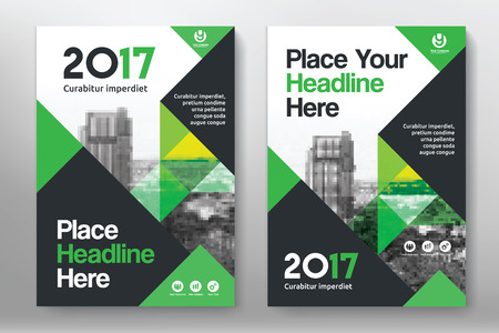 Green Color Scheme with City Background Business Book Cover Design Template in A4. Easy to adapt to Brochure, Annual Report, Magazine, Poster, Corporate Presentation, Portfolio, Flyer, Banner, Website. 向量圖像