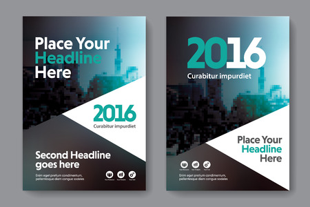 blank magazine: Green Color Scheme with City Background Business Book Cover Design Template in A4. Easy to adapt to Brochure, Annual Report, Magazine, Poster, Corporate Presentation, Portfolio, Flyer, Banner, Website. Illustration