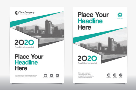Green Color Scheme with City Background Business Book Cover Design Template in A4. Easy to adapt to Brochure, Annual Report, Magazine, Poster, Corporate Presentation, Portfolio, Flyer, Banner, Website. Vectores