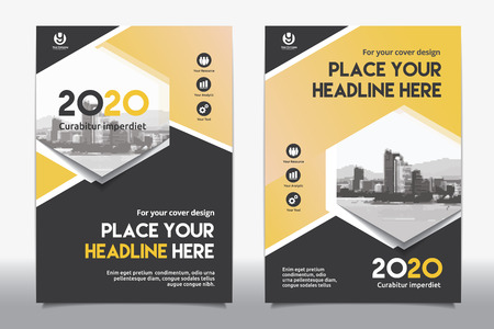 adapt: Yellow Color Scheme with City Background Business Book Cover Design Template in A4. Easy to adapt to Brochure, Annual Report, Magazine, Poster, Corporate Presentation, Portfolio, Flyer, Banner, Website. Illustration