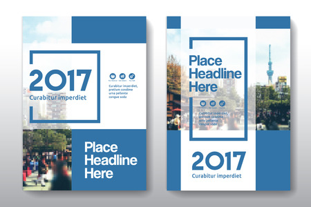 Blue Color Scheme with City Background Business Book Cover Design Template in A4. Easy to adapt to Brochure, Annual Report, Magazine, Poster, Corporate Presentation, Portfolio, Flyer, Banner, Website.