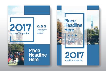 Color Scheme bleu avec la ville de fond Business Book Cover Design Modèle en A4. Facile à adapter à la brochure, rapport annuel, Magazine, Affiche, Présentation de l'entreprise, portefeuille, Flyer, Banderole, Site Web.