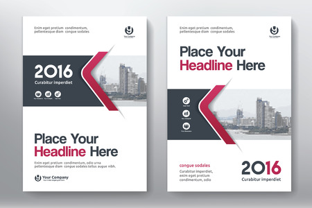 advert: Red Color Scheme with City Background Business Book Cover Design Template in A4. Easy to adapt to Brochure, Annual Report, Magazine, Poster, Corporate Presentation, Portfolio, Flyer, Banner, Website.