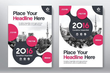 cover: Red Color Scheme with City Background Business Book Cover Design Template in A4. Easy to adapt to Brochure, Annual Report, Magazine, Poster, Corporate Presentation, Portfolio, Flyer, Banner, Website.