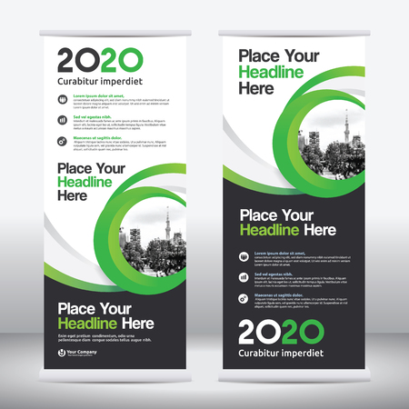 Green Color Scheme with City Background Business Roll Up Design   Template.Flag Banner Design. Can be adapt to Brochure, Annual   Report, Magazine,Poster, Corporate Presentation, Portfolio, Flyer,   Website