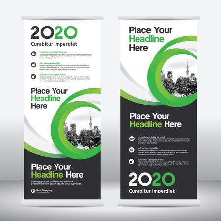 Schema di colore verde con sfondo della città Business Roll Up Design Template.Flag Banner Design. Può essere adattabile a Brochure, Report annuale, Rivista, Poster, Presentazione aziendale, Portfolio, Flyer, Sito Web Archivio Fotografico - 69870044