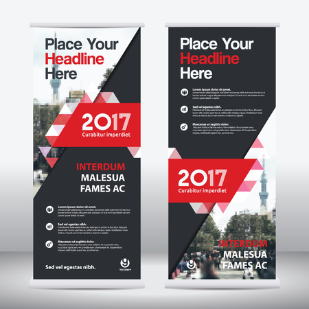 Red Color Scheme with City Background Business Roll Up Design   Template.Flag Banner Design. Can be adapt to Brochure, Annual   Report, Magazine,Poster, Corporate Presentation, Portfolio, Flyer,   Website Ilustração