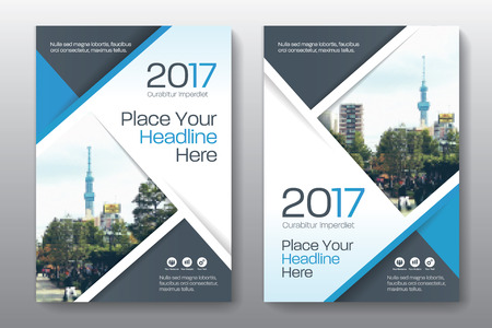 advert: Blue Color Scheme with City Background Business Book Cover Design   Template in A4. Can be adapt to Brochure, Annual Report,   Magazine,Poster, Corporate Presentation, Portfolio, Flyer, Banner,   Website.