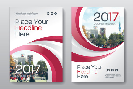 advert: Red Color Scheme with City Background Business Book Cover Design Template in A4. Can be adapt to Brochure, Annual Report, Magazine,Poster, Corporate Presentation, Portfolio, Flyer, Banner, Website.