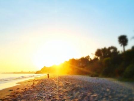santa barbara: Jogger on beach at Sunset Santa Barbara CA