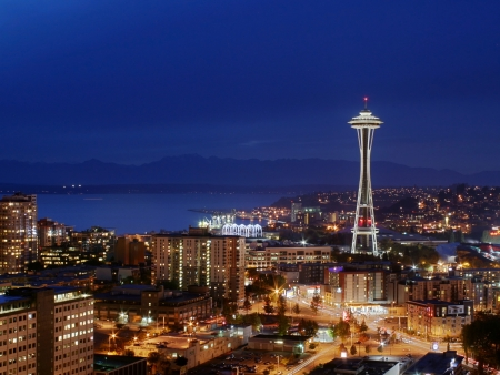 Seattle Space Needle and cityscape at night Stock Photo