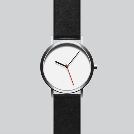 wristwatch: Black wristwatch on gray background