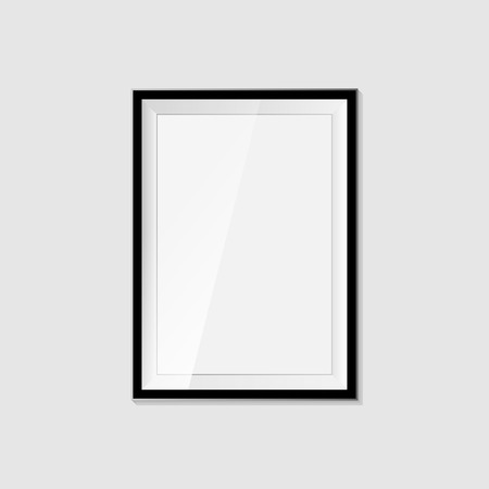 3D picture frame design for A4 image or text on a white background photo