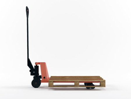 Fork pallet truck stacked with pallet isolated on white backround photo