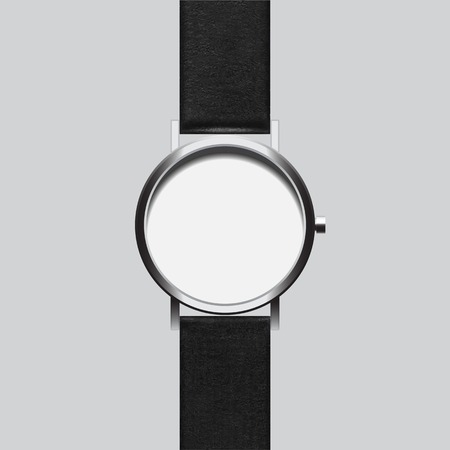 wristwatch: Empty black wristwatch on gray background isolated Stock Photo