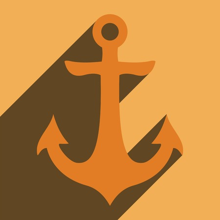 Flat long shadow icon anchor for web. photo