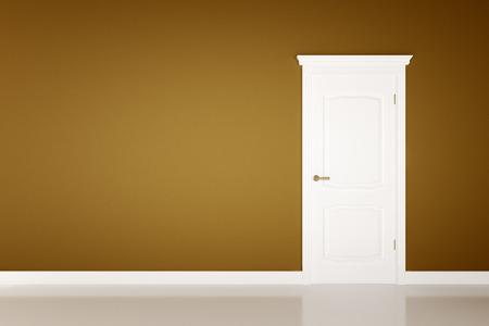 wooden door: Closed white door on brown wall background Stock Photo
