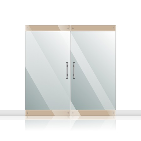 Transparent glass door isolated on white background photo