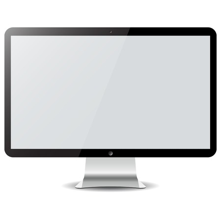 Empty computer display isolated on white photo