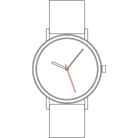 Black line wristwatch on white background isolated photo