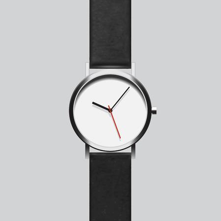 灰色の背景に黒い腕時計 写真素材