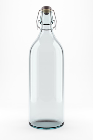 Empty transparent bottle  Isolated on the white background