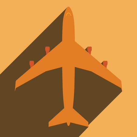 Flat long shadow icon aeroplane for web  Vector
