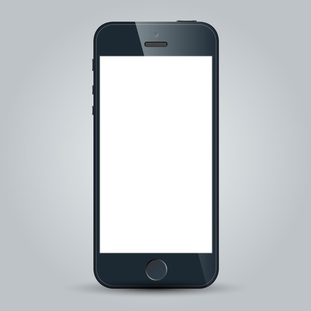 Realistic black mobile phone with blank screen isolated on white  Vector